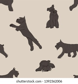 Seamless pattern with cute Miniature Schnauzer dog. Funny doggy background, wallpaper or print design.