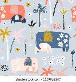 Seamless pattern with cute mom and baby elephant, palm trees and flowers. Creative childish texture. Great for fabric, textile Vector Illustration