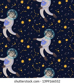 Seamless pattern with cute monkey in the space on skies objects background. Funny children's vector illustration. Ape in the cosmos surrounded by stars.