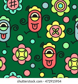 Seamless pattern cute monster and flower