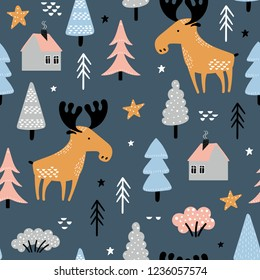 5940000e66d Seamless pattern with cute moose