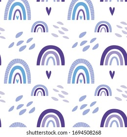 Seamless pattern with cute nursery rainbows, shapes, scandinavian fun print. Purple colours. Creative kids texture for poster, fabric, wrapping, textile, wallpaper, apparel. Vector flat illustration