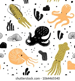 Seamless Pattern with Cute Octopus. Childish Underwater Creatures Background for Fabric Textile, Wallpaper, Wrapping Paper. Vector illustration