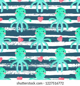 Seamless pattern with cute octopuses and hearts on a striped background. Illustration for children in a vector.