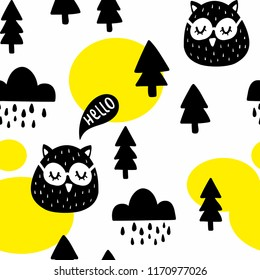 Seamless pattern with cute owl birds in the woodland. Vector illustration in scandinavian style for decorating.