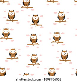 seamless pattern with cute owl on branch isolated on white background, vector illustration, baby print