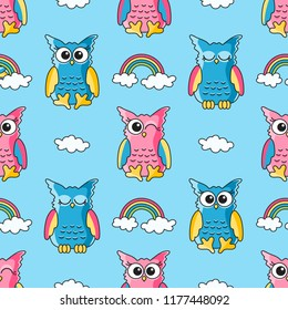 seamless pattern with cute owls and clouds