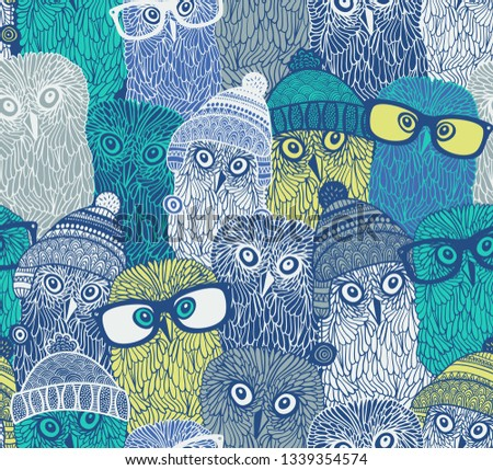 e6e17172298 Seamless pattern with cute owls in hats and glasses. Vector wallpaper of  arctic birds in