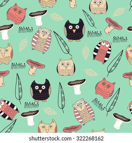 Seamless pattern with cute owls and mushrooms on mint background. Vector illustration for textile design, wallpaper, wrapping paper etc