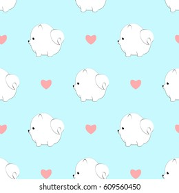 Seamless pattern with cute pameranian dogs and hearts. Vector animal background. Cute seamless pattern in black and white with pom puppy.