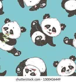 Seamless pattern with cute panda bear. Hand drawn vector illustration.