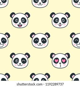 Seamless pattern with cute panda faces