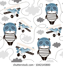 Seamless pattern with cute panda in pilot cap and retro air planes. Creative childish texture for fabric, wrapping, textile, wallpaper, apparel. Vector illustration