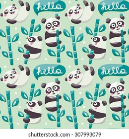 Seamless pattern with cute pandas, bamboo, leafs and hello