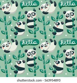 Seamless pattern with cute pandas, bamboo, leafs, childish, cartoon, bubble, character, floral, walk, plant, cloud and hello