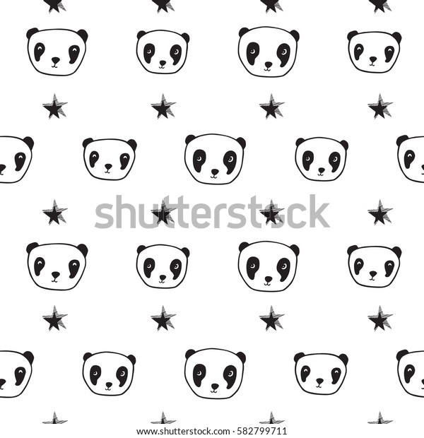 Seamless pattern with cute pandas and stars for textile, wallpapers, gift wrap and scrapbook. Sketch, doodles, design elements. Hand drawn. Vector.