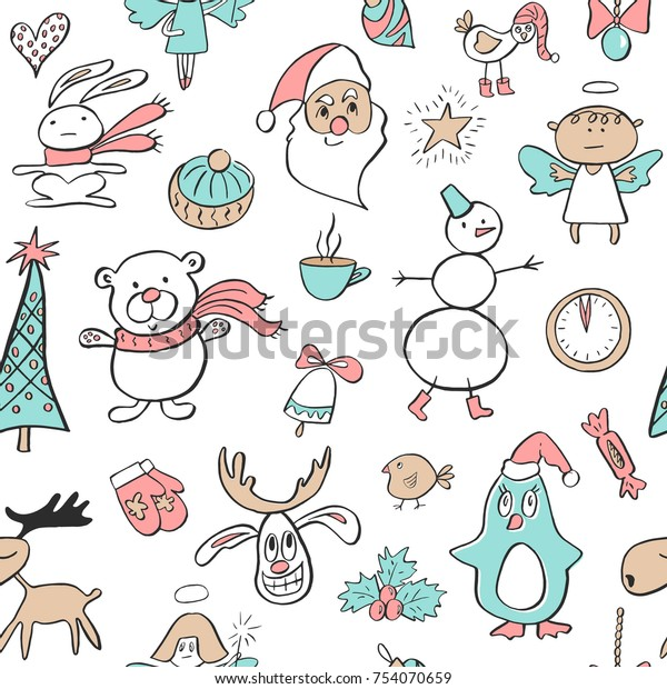 Seamless Pattern Cute Penguinreindeerbear Tree Angel Stock Vector Royalty Free 754070659 Download high quality angels clip art from our collection of 41,940,205 clip art graphics. shutterstock
