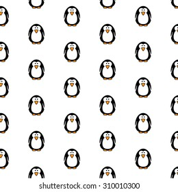 Seamless pattern of cute penguins