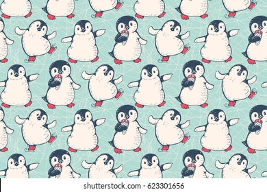 Seamless pattern with cute penguins. Hand-drawn illustration. Vector.