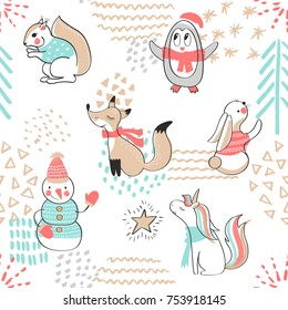 Seamless pattern with cute penguin,snowman, Fox,unicorn, squirrel and rabbit. Hand Drawn vector illustration. Background with cartoon animals