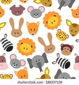 Seamless pattern with cute pet and wild cartoon animals. Vector seamless texture for wallpapers, pattern fills, web page backgrounds