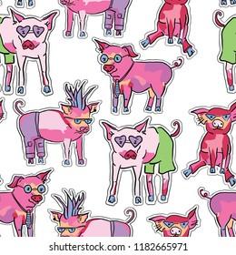seamless pattern with cute piggies