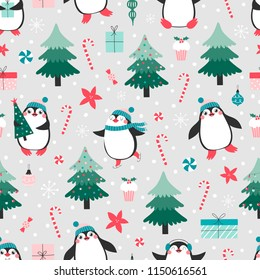 Seamless pattern with cute pinguins and christmas elements