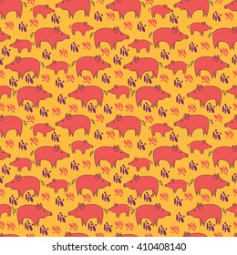 Seamless pattern with cute pink pigs on orange background. Vector illustration for kid, textile, fabric, wallpaper, wrapping paper design/