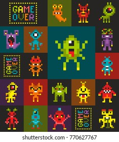Seamless pattern with cute pixel robots and monsters from the space. Vector illustration aliens from the space.