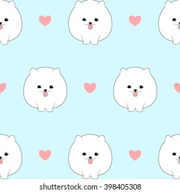 Seamless pattern with cute pomeranian dogs. Vector animal background.
