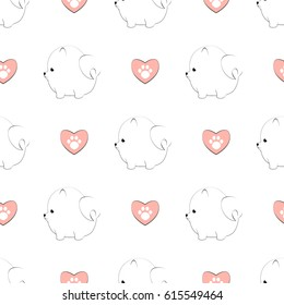 Seamless pattern with cute pomeranian dogs and hearts with paw prints. Vector animal background.