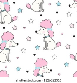Seamless pattern with cute poodle dog with a bow on white background. Childish illustration in vector.