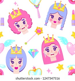 Seamless pattern with cute princesses, diamonds,hearts,mirrow and stars on white background