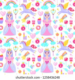 Seamless pattern with cute princess,unicorn,clouds,hearts and other cartoon elements.