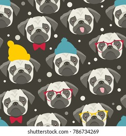 Seamless pattern with cute pugs faces. Vector illustration of winter animals around snow.