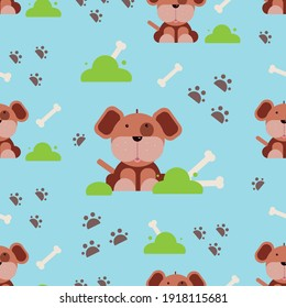 seamless pattern with cute puppy, bone and prints, footprints, for any child's design, vector graphics