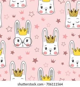 Seamless pattern with cute rabbit baby girl Princess