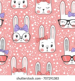 Seamless pattern with cute rabbit baby girl