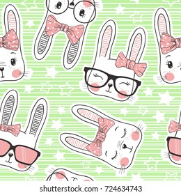 Seamless pattern with cute rabbit baby girls