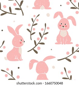 Seamless pattern with cute rabbit. Ripe bunnies, branches and berries on white background. Vector hand drawn illustration