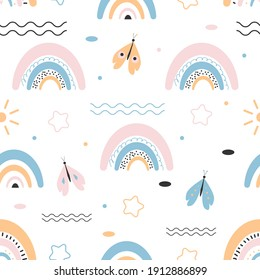 Seamless pattern with cute rainbow and butterfly