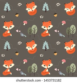 Seamless pattern cute red fox in the forest.