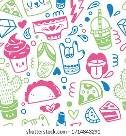 Seamless pattern. Cute repetitive drawings for patches and stickers - ice cream, star, rainbow, diamond and taco . Cartoon style illustration set made in vector.