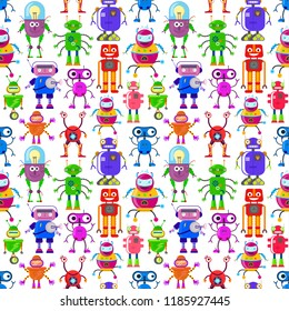 Seamless pattern with cute robots in flat style on white background