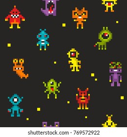 Seamless pattern with cute robots in retro style. Vector 8 bit design monsters.