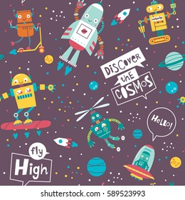 Seamless pattern with cute robots. Vector illustration on a dack background.