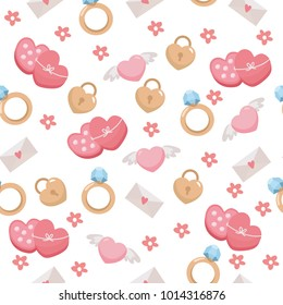 Seamless pattern with cute romantic elements. Illustration with hearts, ring, envelope. Background for fabric print, texture and wrapping paper.