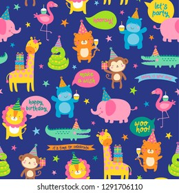 Seamless pattern of cute safari animals with birthday party elements.