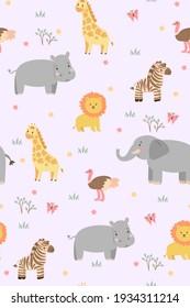 Seamless pattern with cute savanna animals. Vector graphics.