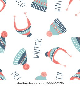 seamless pattern with cute scandinavian hats and hello winter lettering isolated on white, vector illustration of warm accessories with ornaments